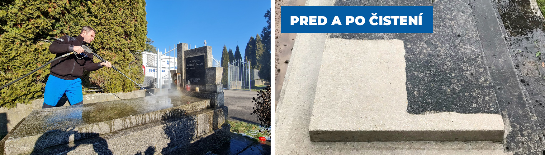 Čistenie pomníkov a náhrobných kameňov